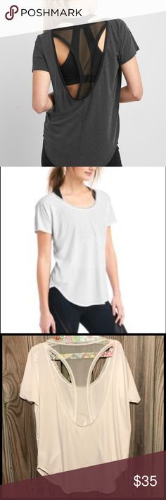 ⭐️ Super Cute GapFit White Breathe layer mesh tee ⭐️ Love this tee I wear to the gym and it's dry before I pick up my girls, and I don't look like I only wear gym clothes all day. It's a loser fit with adorable back meshing. Nice coverage to go thru you day. Size Medium fits true to size without shrinking. New without tags by GapFit. ⭐️⭐️⭐️Top seller, Posh ambassador, super fast shipping. GAP Tops Tees - Short Sleeve