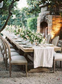 Tablescape, San Ysidro Ranch, Flowers by: Kelly Kaufman Design, Photo: Kurt Boomer - California Wedding http://caratsandcake.com/corinnaandmark