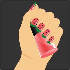 How to Paint Watermelon Nails via www.wikiHow.com