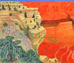 left detail: David Hockney A Bigger Grand Canyon National Galleiy of Australia © 1999 David Hockney David Hockney Landscapes, David Hockney Art, David Hockney Paintings, Landscape Art, Landscape Paintings, Pop Art, Paintings I Love, Oil Paintings, Portraits
