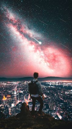 Man On Mountain City Night Galaxy View Stars Iphone Wallpaper Free – GetintoPik Urban Photography, Creative Photography, Photography Poses, Amazing Photography, Marshmello Wallpapers, Urbane Fotografie, Cool Pictures, Cool Photos, Photo Portrait