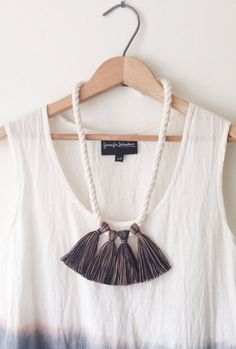 Handspun Cotton Tassel Necklace | forestiere on Etsy