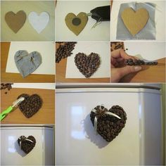 Most of us like drinking coffee. But you may not know that coffee beans can be used to make beautiful and unique interior decoration. They are also great deodorant for the home. Here is a fun DIY project to make a heart shaped coffee bean fridge magnet. Save On Crafts, Diy And Crafts, Crafts For Kids, Coffee Heart, Coffee Love, Coffee Bean Art, Types Of Coffee Beans, Cuisines Diy, Diy Magnets