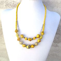 Excited to share the latest addition to my #etsy shop: Double-strand chunky necklace in goldenrod, butter, and mustard yellow, 19-22in. Click here to shop: http://etsy.me/2tkP4VA #handmadejewelry #jewelrybyscotti #yellownecklace