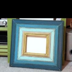 8x10 Ava frame-tonal turquoises and butter yellow