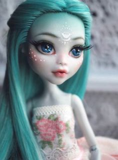 Custom Monster High Doll Lagoona repaint and reroot by Tinkerina