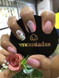 Short Nail Designs, Gel Nail Designs, Long Acrylic Nails, Easy Nail Art, Short Nails, Manicure, Pink, Ideas, Designed Nails
