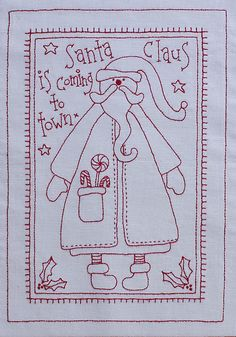 Fabric Patch It's A Redwork Christmas - by Rosalie QuinlanSECONDARY_SECTIONIt's A Redwork Christmas by Rosalie Quinlan BOM Complete pattern set of 9 Stitchery patterns. Includes iron on transfer. Christmas Embroidery, Hand Embroidery Patterns, Embroidery Applique, Cross Stitch Embroidery, Machine Embroidery, Embroidery Designs, Quilt Patterns, Primitive Stitchery, Grafik Design