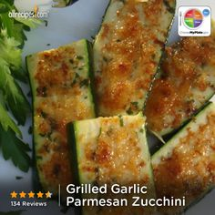 Grilled Garlic Parmesan Zucchini | Grilled zucchini slices get a savory, garlic and Parmesan cheese topping for a quick, savory side dish. #myplate #veggie #dairy