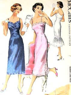 1950s  GORGEOUS Slips Lingerie Pattern McCALLS 4029 Three Styles Including Fishtail FLOUNCED VERSION Bust 38 Vintage Sewing Pattern FACTORY FOLDED