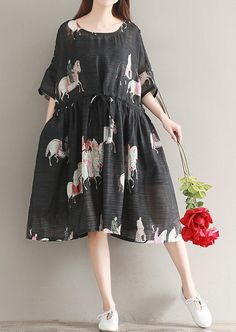 Women loose fit over size dress drawstring pocket tunic ancient man ride horse #Unbranded #dress #Casual