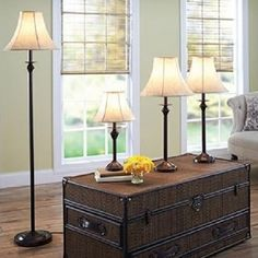 Floor Table Set Lamp Light Faux Leather shade Bronze Pole Home Decor CFL Bulbs