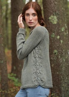 Fountain is a raglan-sleeve sweater knit in Berroco Vintage. The front and back are worked separately with this eye-catching lace detail worked at the edges. Knit in an easy-care yarn, this stunning sweater will become an integral part of your winter and spring wardrobe!