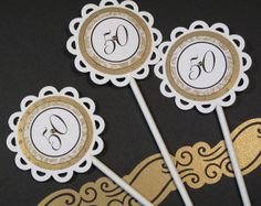 50th golden wedding anniversary cupcake toppers by twopaperpals, $10.00
