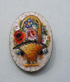 ITALIAN PIETRA DURA MICRO MOSAIC FLOWER BASKET BROOCH