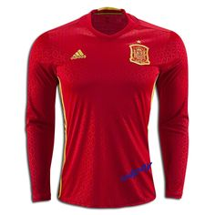 d627b82040b 2016 UEFA Euro Spain Any Name Number Long Sleeve Home Soccer Jersey Euro  2016 Fans