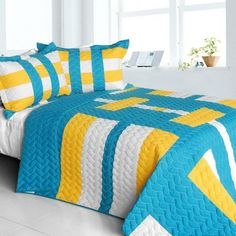 Tower Vienna Vermicelli-Quilted Patchwork Geometric Quilt Set (Full/Queen Size)