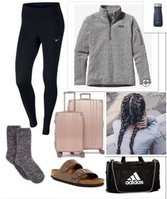 """Vacation outfit"" liked on polyvore featuring Patagonia, Nike, Birkenstock, adidas, and swell #vacationoutfitswinter"