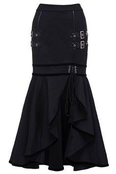 Atomic Black Buckled Irregular Fishtail Skirt #SteampunkSkirt