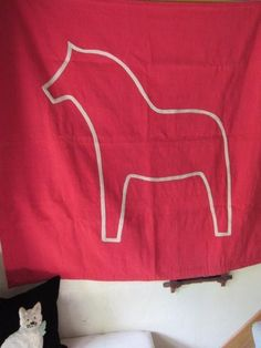 """LARGE 60""""Wx59""""L Swedish DALA HORSE Red Woven WALL HANGING Tapestry or RUG"""