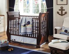 I love the idea of tall beadboard or board and batten walls with navy on top for Ted's next fishy room   Pottery Barn Kids Jackson Nursery on potterybarnkids.com