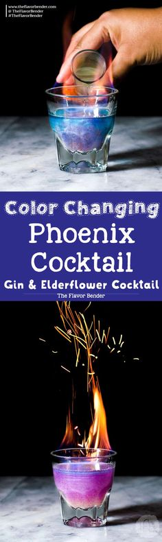 Phoenix Cocktail - A Gin and Elderflower Cocktail that is a Color Changing Shimmery Cocktail! Made with Butterfly pea Flower infused gin and a fruity, tangy, floral and sweet lemon Elderflower syrup.  via @theflavorbender