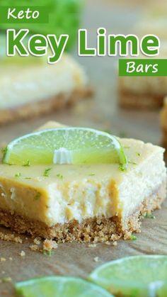 Keto Key Lime Bars Keto Desserts, Keto Snacks, Dessert Recipes, Stevia Desserts, Keto Desert Recipes, Key Lime Desserts, Dinner Recipes, Keto Dessert Easy, Key Lime Bars