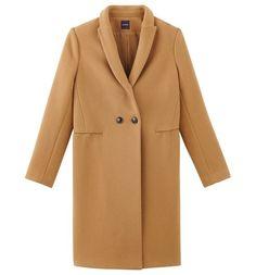 Wełniany płaszcz ciemny beż - Promod