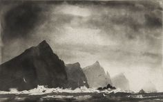 norman ackroyd - three sisters etching (from 'ireland / galway bay to cork city' series) , 2007 Norman Ackroyd, Landscape Drawings, Abstract Landscape, Landscape Paintings, Landscapes, Cork City, Etching Prints, Landscape Concept, Expressive Art