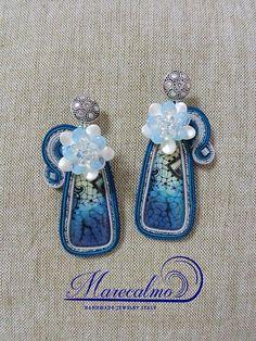 Teal earrings Soutache Earrings embroidered earrings ooak