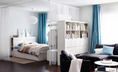 Full size of studio type interior ideas apartment design square feet ikea bedroom flat possible dorm Small Space Living, Living Area, Living Spaces, Small Space Bedroom, Tiny Spaces, Small Apartments, Apartment Design, Apartment Living, Ikea Studio Apartment