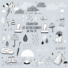 a rainy day. handdrawn vector design elements. photoshop brushes / digital stamps/ Doodles/ Clipart .png and .abr - pinned by pin4etsy.com