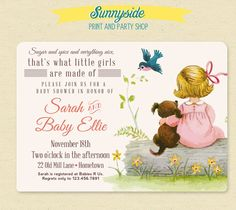 Girls Made of Baby Shower Invite - Sugar Spice Everything Nice - Vintage Style Baby Shower Invitation
