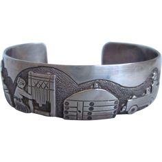 Vintage Heavy Sterling Story Teller Cuff Bracelet