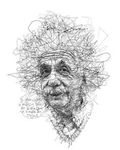 Drawing Portraits - Oeuvre by Vince Low - Célébrité Albert Einstein Discover The Secrets Of Drawing Realistic Pencil Portraits.Let Me Show You How You Too Can Draw Realistic Pencil Portraits With My Truly Step-by-Step Guide. Line Drawing, Drawing Sketches, Pencil Drawings, Painting & Drawing, Art Drawings, Drawing Portraits, Stylo Art, Ghost In The Machine, Scribble Art