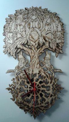 #Yggdrasil duvar saati#woodburning yggdrasil clock