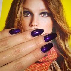 violet almond nails by Valeria Karra #nails #almondnails #violet #space #ellerussia #elle #colorexpert #goldenrose