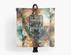 You are beautiful / Hamsa hand / blue-brown scarf/wrap