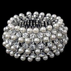 White Modern Freshwater Pearl & Rhinestone Stretch Bracelet in Rhodium Silver 14157