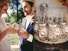 newlyweds toasting - photo by JBM Weddings http://ruffledblog.com/handsome-hollow-wedding-ideas