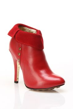 Jill Heel Booties In Red And Suede.