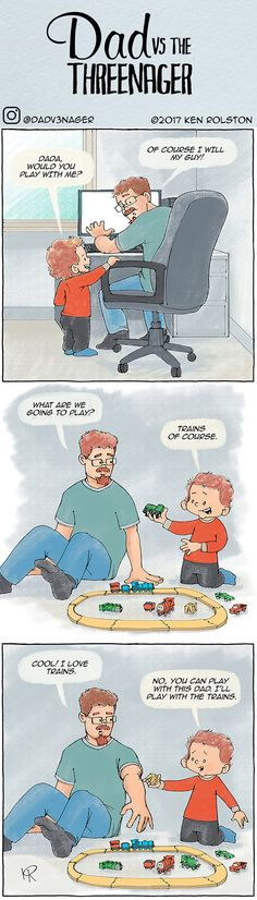 """Webcomic - Dad vs the Threenager. """"Would you play with me?"""" The truth about raising a toddler. https://www.instagram.com/dadv3nager/"""