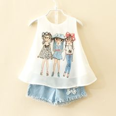 11.88$  Buy here - http://ali4oh.shopchina.info/go.php?t=32641838100 - Retail children's suits 2017 summer new children's clothing girls fashion girls chiffon vest + denim shorts suit short pants  #buychinaproducts