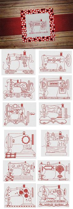12 detailed, vintage sewing machines in redwork. Embroidery Transfers, Machine Embroidery Patterns, Machine Quilting, Embroidery Applique, Cross Stitch Embroidery, Sewing Patterns, Embroidery Sampler, Red Work Embroidery, Tatting Patterns