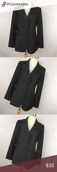 """Emporio Armani 8 Blazer Jacket Charcoal Gray Emporio Armani 8 Blazer Jacket Charcoal Gray Button Down Front Women's L/S. Excellent condition. Smoke free home. Chest- 36"""" Length - 25"""" Sleeve - 24"""" Emporio Armani Jackets & Coats Blazers"""
