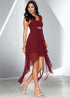 Walk into the party in this eye-catching dress! Venus high low formal dress.