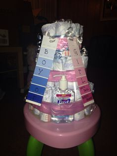 Diaper cake for gender reveal party