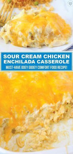 Chicken Enchilada Casserole, Enchilada Recipes, Sourcream Chicken Enchiladas, Mexican Dishes, Mexican Food Recipes, Diner Recipes, Recipes Dinner, Dinner Ideas, Sour Cream Enchiladas