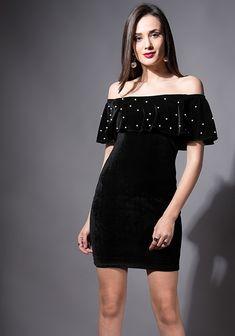 3e920048ee1 Black Pearl Velvet Off Shoulder Dress  Fashion  FabAlley  PartyWear   OffShoulderDress  Dress