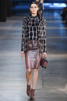 Christopher Kane - Fall 2015 Ready-to-Wear. I don't know about the fuzzy cardigan set, but that skirt and those shoes have my number.